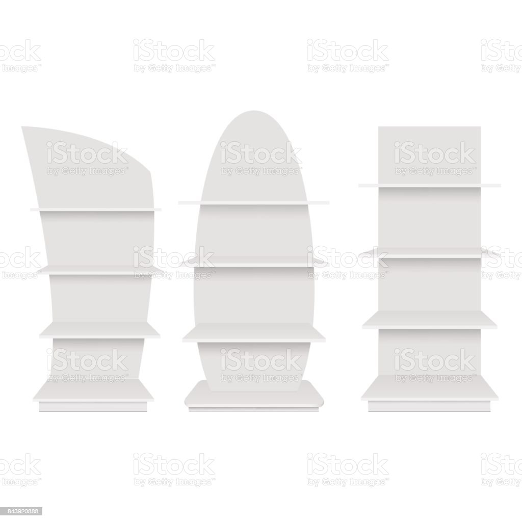 Blank empty showcase display with retail shelves. Front view. Vector mock up template ready for your design royalty-free blank empty showcase display with retail shelves front view vector mock up template ready for your design stock illustration - download image now