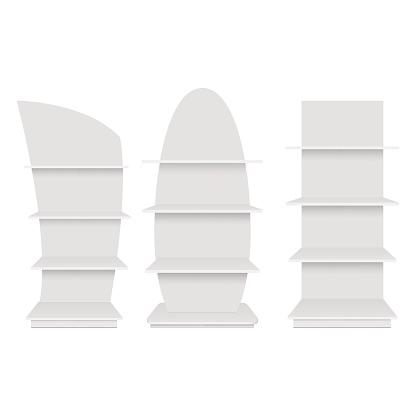 Blank Empty Showcase Display With Retail Shelves Front View Vector Mock Up Template Ready For Your Design - Arte vetorial de stock e mais imagens de Artificial