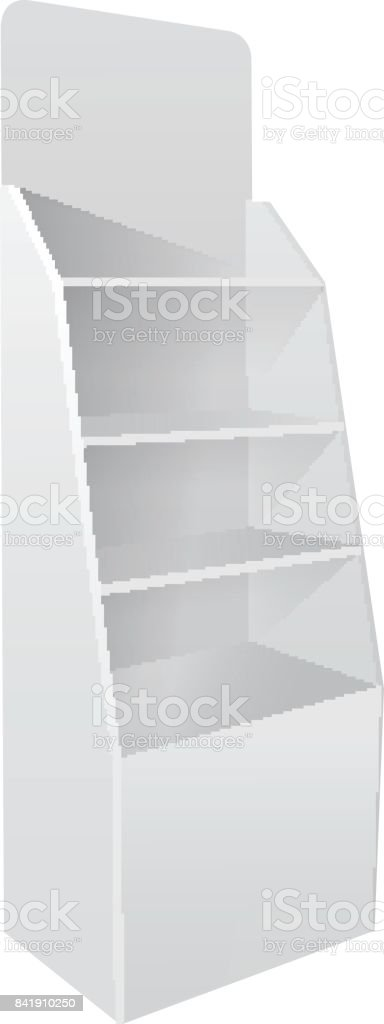 Blank empty showcase display with retail shelves. Product Advertising. Side view. Vector mock up template ready for your design vector art illustration