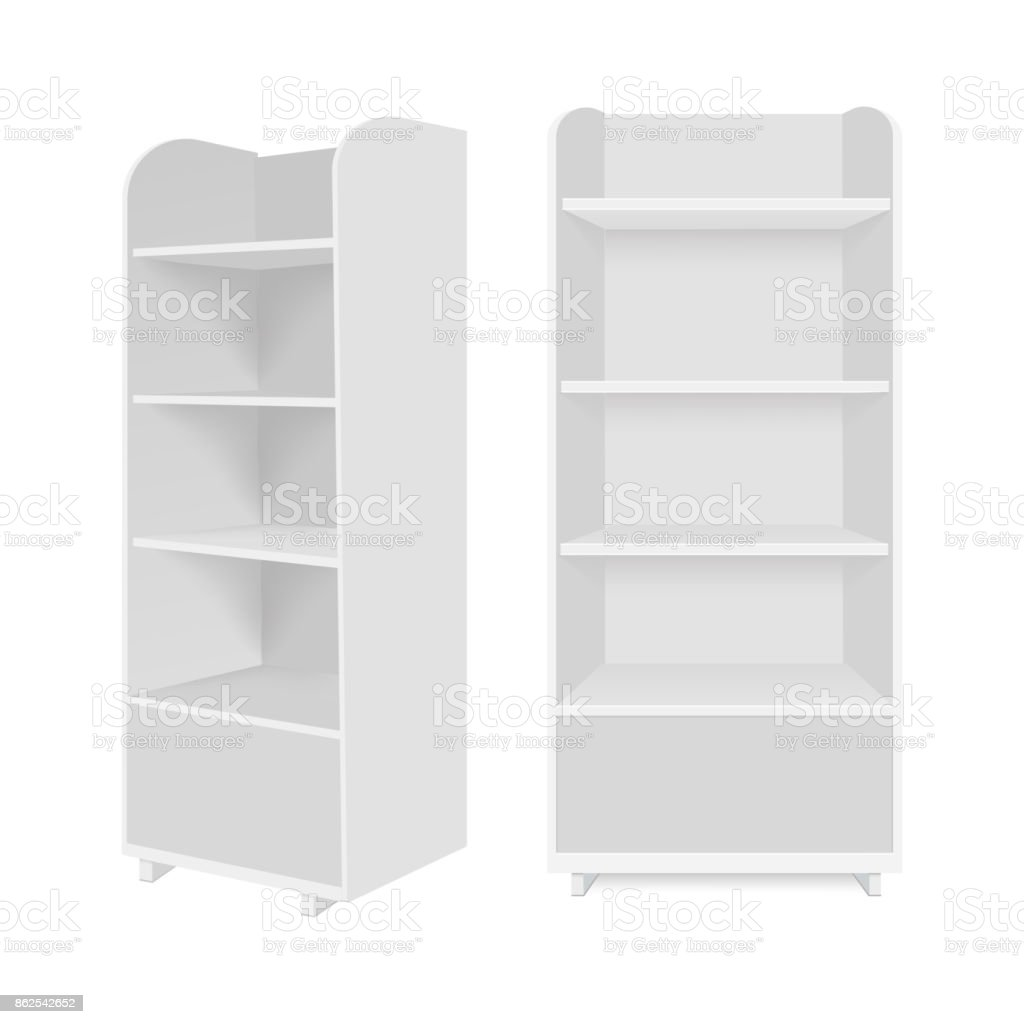 Blank empty showcase display with retail shelves. Vector mock up template ready for your design. royalty-free blank empty showcase display with retail shelves vector mock up template ready for your design stock illustration - download image now