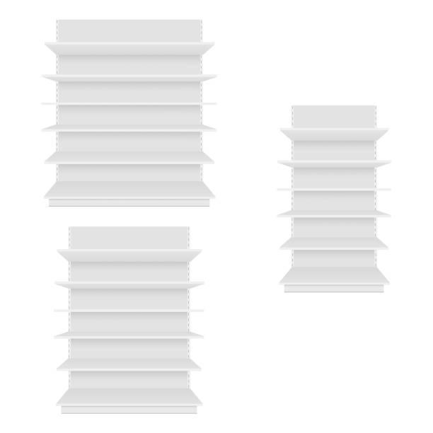 leere leere vitrinen anzeigen mit den verkaufsregalen. ansicht von vorne. vektor - kastenständer stock-grafiken, -clipart, -cartoons und -symbole