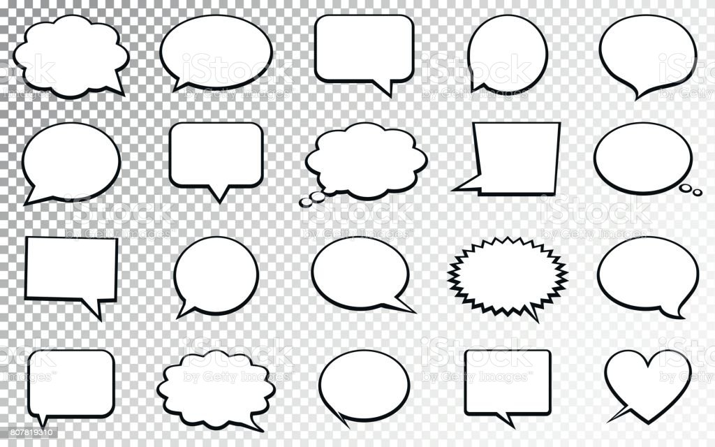 Blank empty speech bubbles. Isolated on transparent background vector art illustration
