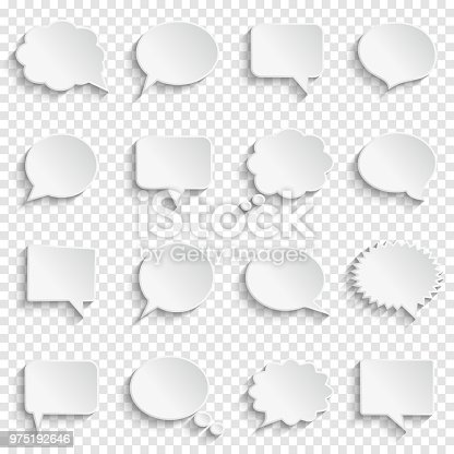 Abstract white speech bubbles set on transparent background, paper art style, vector illustration