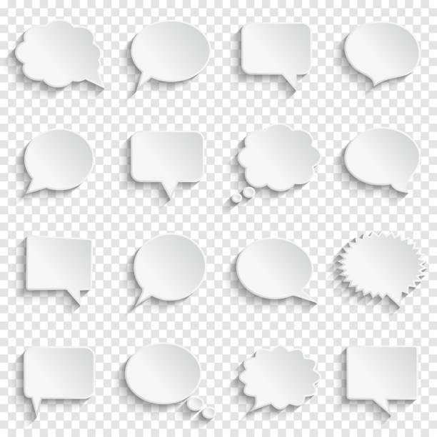 Leere weiße leere Sprechblasen auf transparenten Hintergrund – Vektorgrafik