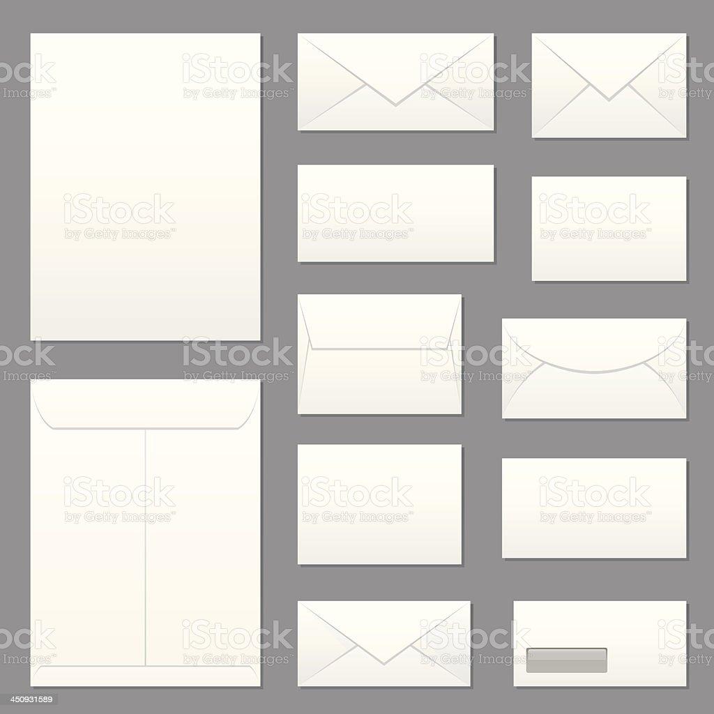 Blank Envelopes Icon Set vector art illustration