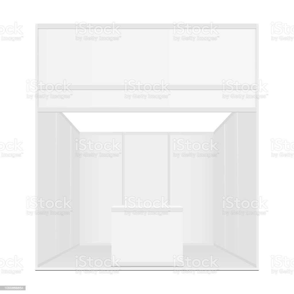 Exhibition Booth Mockup : Blank exhibition booth mockup with table and billboard front view