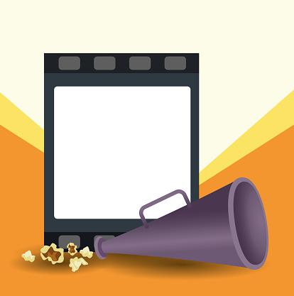 blank film reel and directors megaphone, colorful design