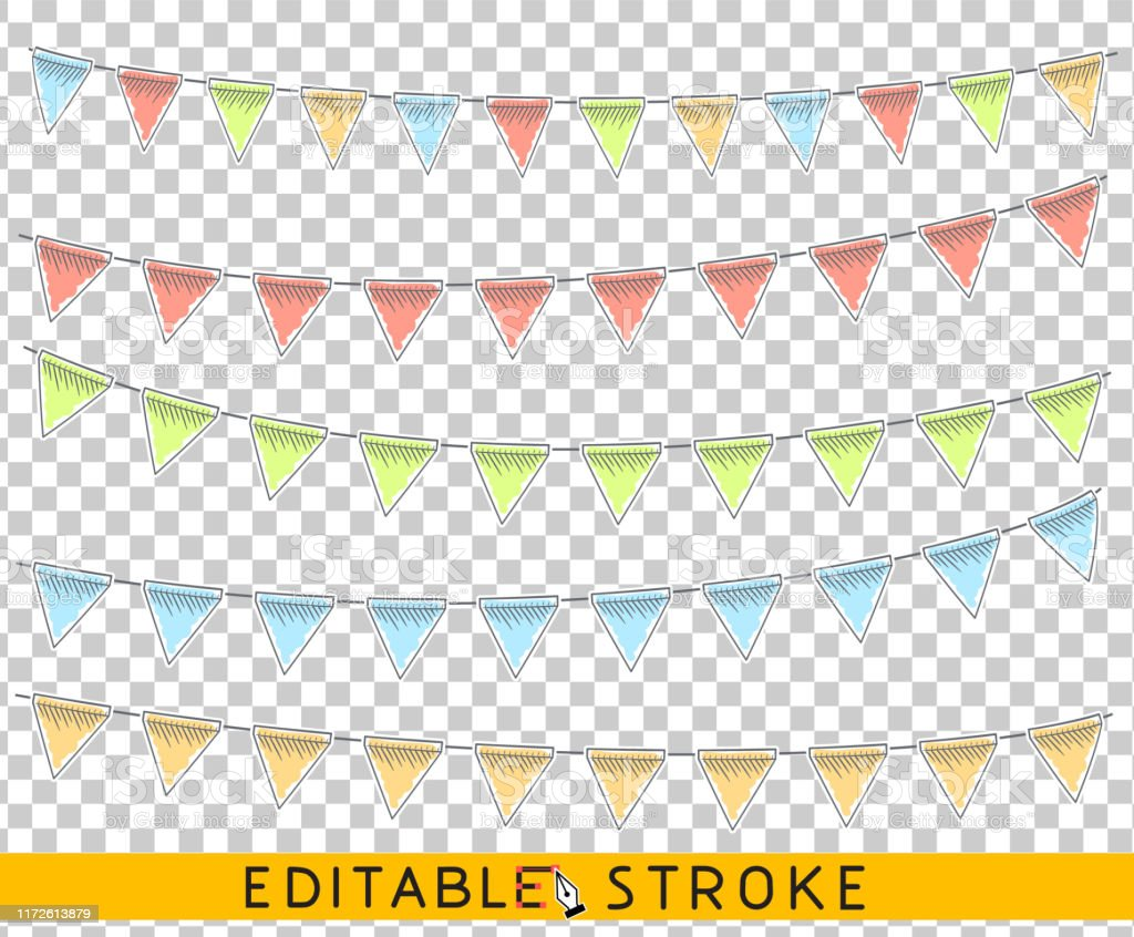 Blank Flags Banner Bunting Scrapbooking Templates For Events Parties Spring Easter Or Birthday Line Drawing Sketch Editable Stroke And Brushes Stock Illustration Download Image Now Istock