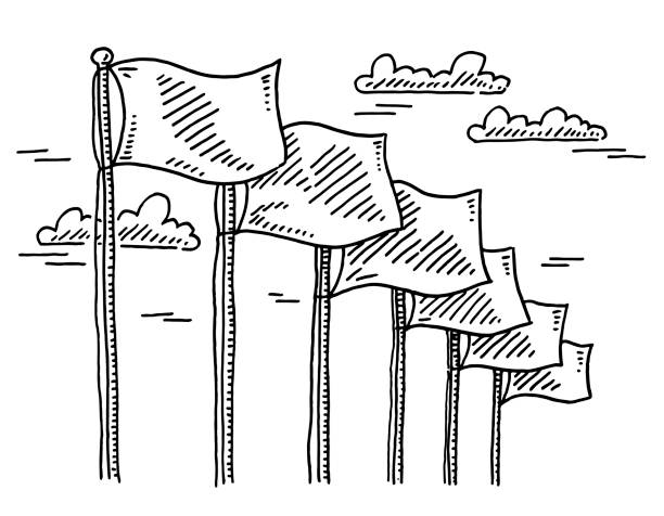 Blank Flags In A Row Drawing Hand-drawn vector drawing of a Blank Flags In A Row. Black-and-White sketch on a transparent background (.eps-file). Included files are EPS (v10) and Hi-Res JPG. business stock illustrations