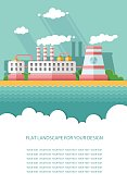 Blank flyer for text. Nuclear power plant and factory. Atom, radiation energy industrial concept, station background. Environmental theme. Flat Vector background illustration