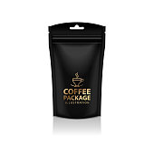 Blank Foil Coffee Doy Pack Pouch Sachet Bag Packaging with Zipper. Vector Isolated Mock up temlate