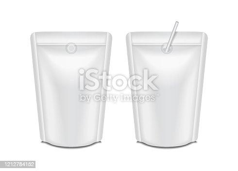 istock Blank foil milk or juice pack set. Pouch sachet bag packaging for branding 1212784152