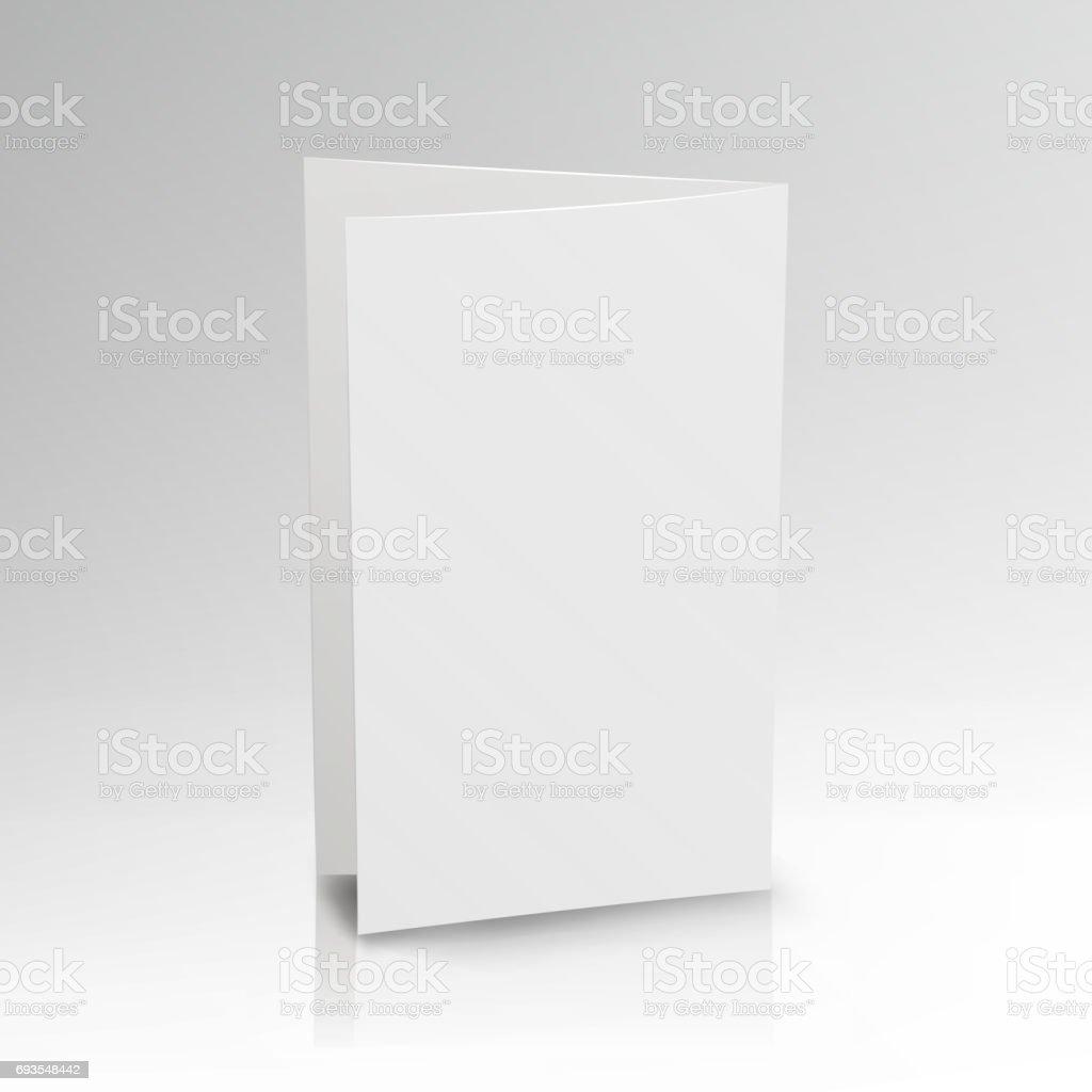 Blank Folder White Leaflet. Vector 3D Mockup. Realistic Paper Brochure. Empty Paper Mockup Illustration vector art illustration