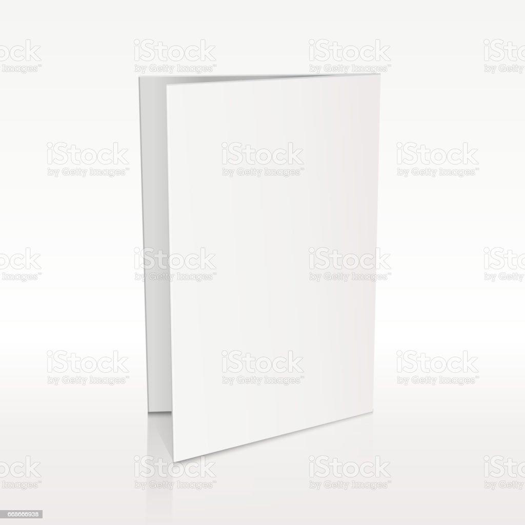 Blank folder white leaflet vector 3D mockup vector art illustration