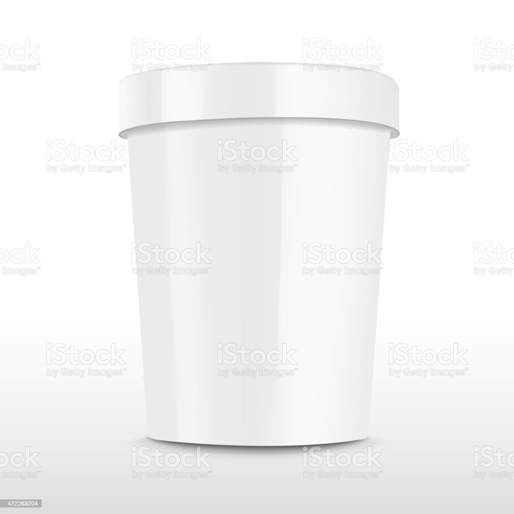 Blank food plastic container isolated on white vector art illustration