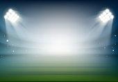 Blank football field on the stadium. Sports background illuminated by searchlights. Stock vector illustration.