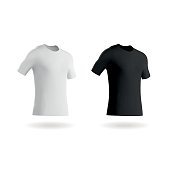 Vector illustrations of modern blank football shirts / fitted t shirts. These plain white and black shirts are easy to customise and the eps file is fully scalable without any loss of quality. The shirts are isolated on a white background and it's easy to add a colour overlay of your choice to the white tee if required. These shirts are highly versatile and will make great backgrounds for your sports emblem, company logo or t shirt design.