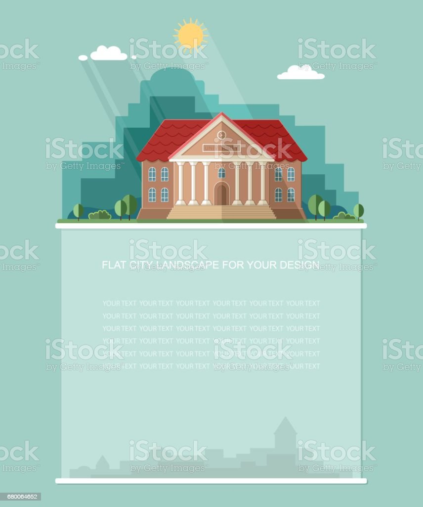 Blank for text. Exterior. College building. University building icon. Study banner. Flat vector Infographics design vector art illustration