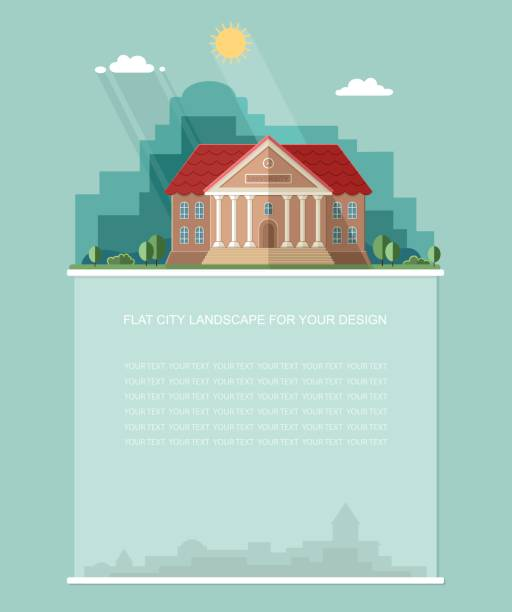 Blank for text. Exterior. College building. University building icon. Study banner. Flat vector Infographics design Blank for text. Exterior. College building. University building icon. Study banner. Flat vector Infographics design campus stock illustrations