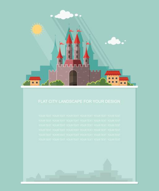 ilustrações de stock, clip art, desenhos animados e ícones de blank for text. medieval castle with fortified wall and towers. historical reminder of architecture. flat vector infographics design - berlin wall