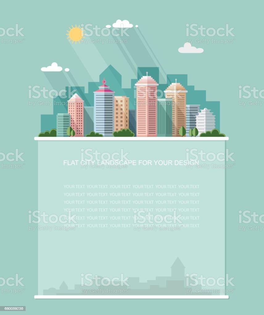 Für Text Leer Smart City Mit Zeitgenössischen Gebäuden Flach ...