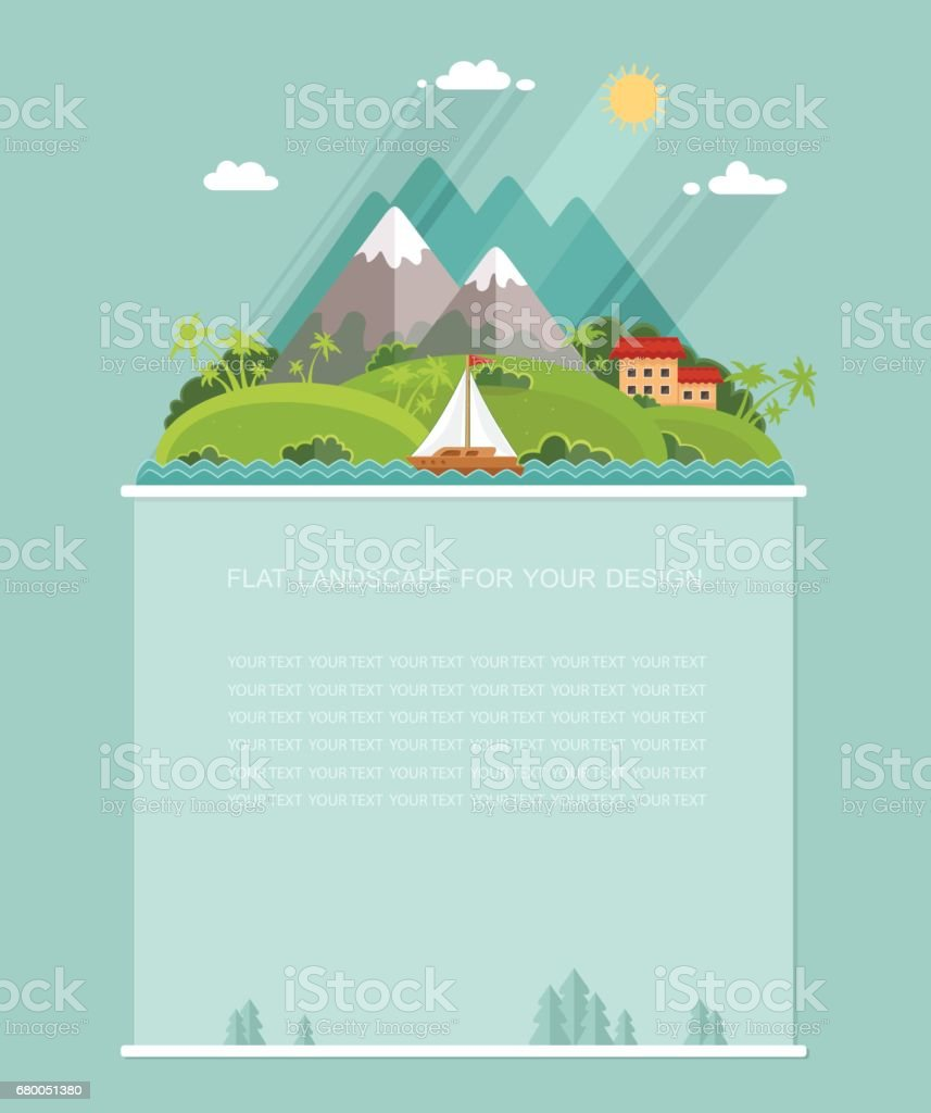 Blank for text. Summertime Travel, holiday vacation on the island in warm countries. Flat vector Infographics design vector art illustration