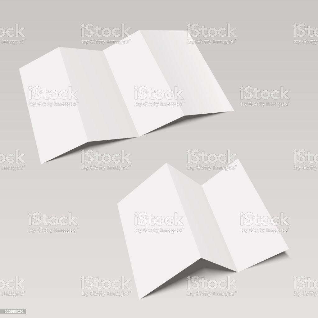 Vier Und Drei Gefalteten Falten Papier Broschüre Flyer Broadsheet ...