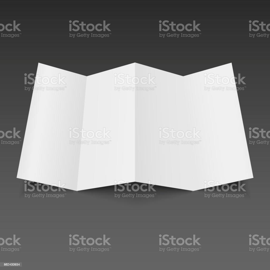 Blank four folded fold paper leaflet, flyer, broadsheet. Vector illustration. vector art illustration