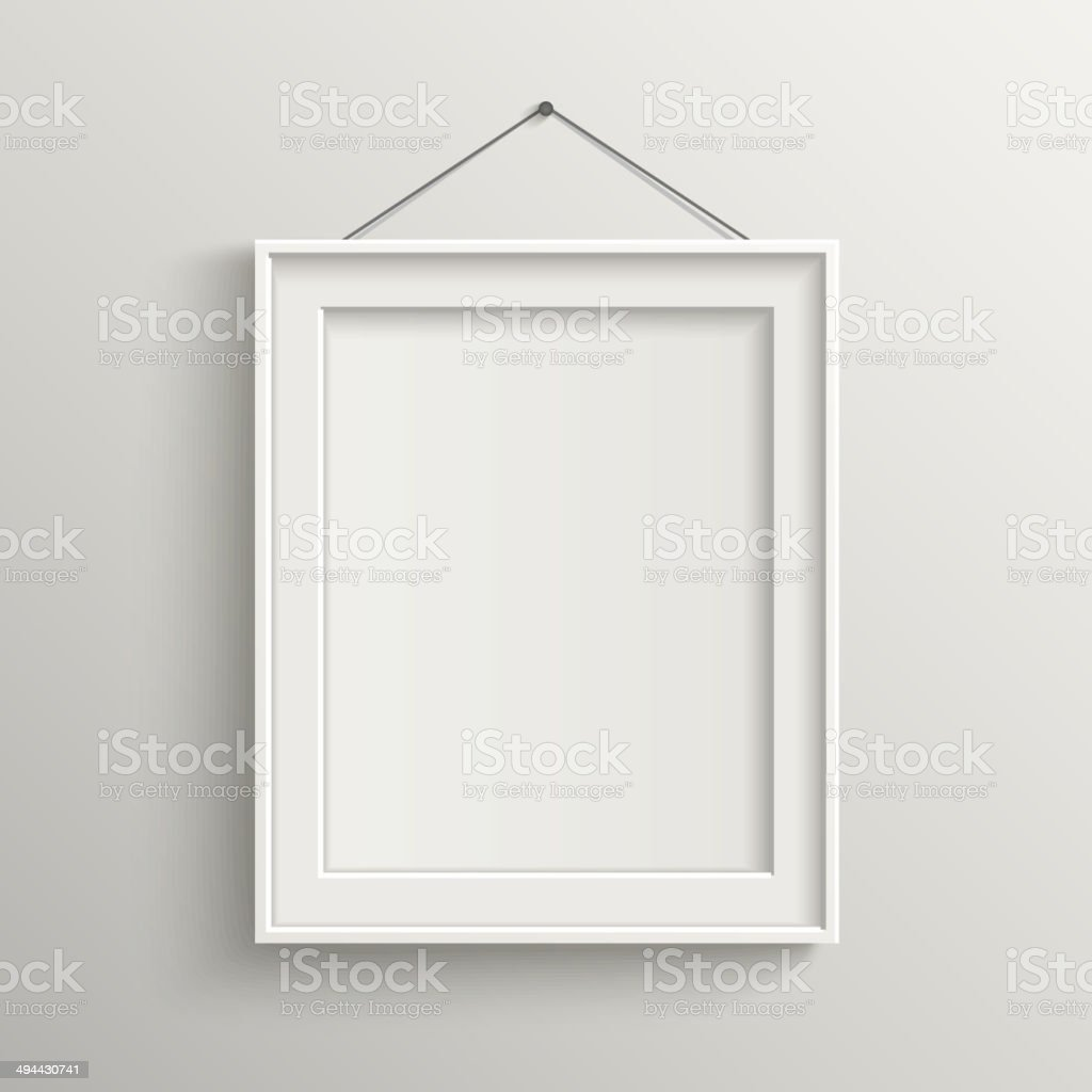 blank frame on white wall with shadow vector art illustration