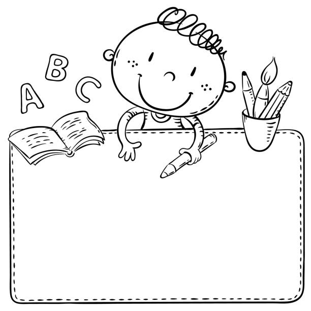 Blank frame with a cute schoolkid and copy space Blank frame with a cute schoolkid and copy space, line art illustration school supplies border stock illustrations