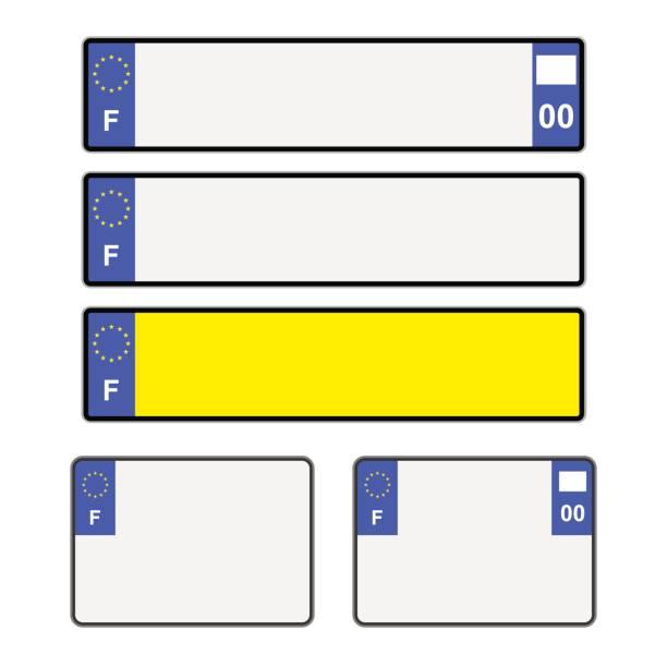 blank french licence plates - nummernschilder stock-grafiken, -clipart, -cartoons und -symbole
