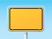 Blank German City Road Sign