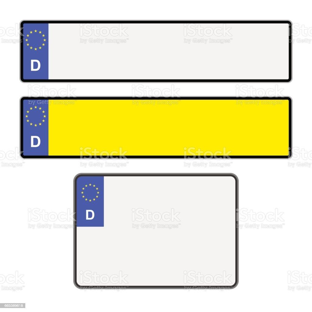 Blank German Licence Plates vector art illustration