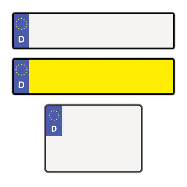 blank german licence plates - nummernschilder stock-grafiken, -clipart, -cartoons und -symbole