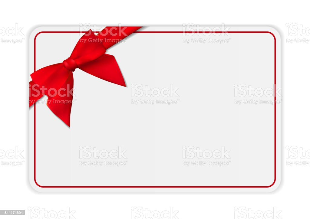 Blank Gift Card Template With Bow And Ribbon Vector Illustration For Your Business Royalty