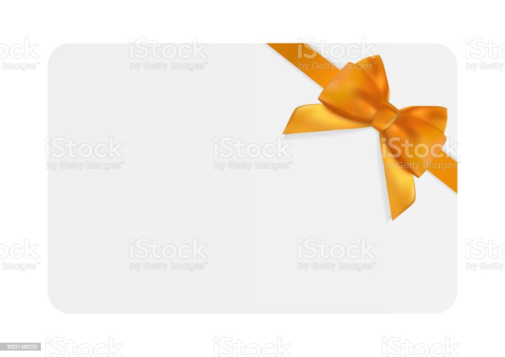 Blank Gift Card Template with Orange Bow and Ribbon. Vector Illustration for Your Business vector art illustration