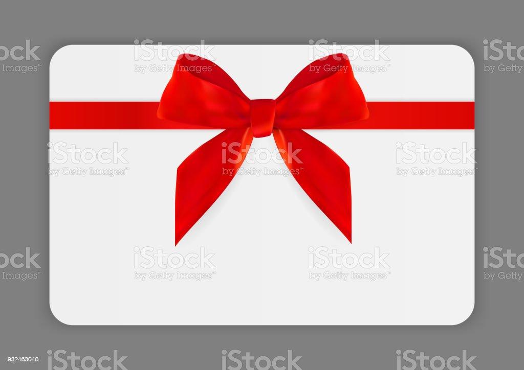 Carte Cadeau Entreprise.Modele De Carte Cadeau Vide Avec Un Arc Rouge Et Ruban Illustration