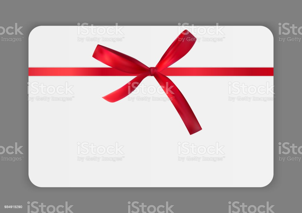 Blank Gift Card Template With Red Bow And Ribbon Vector Illustration ...
