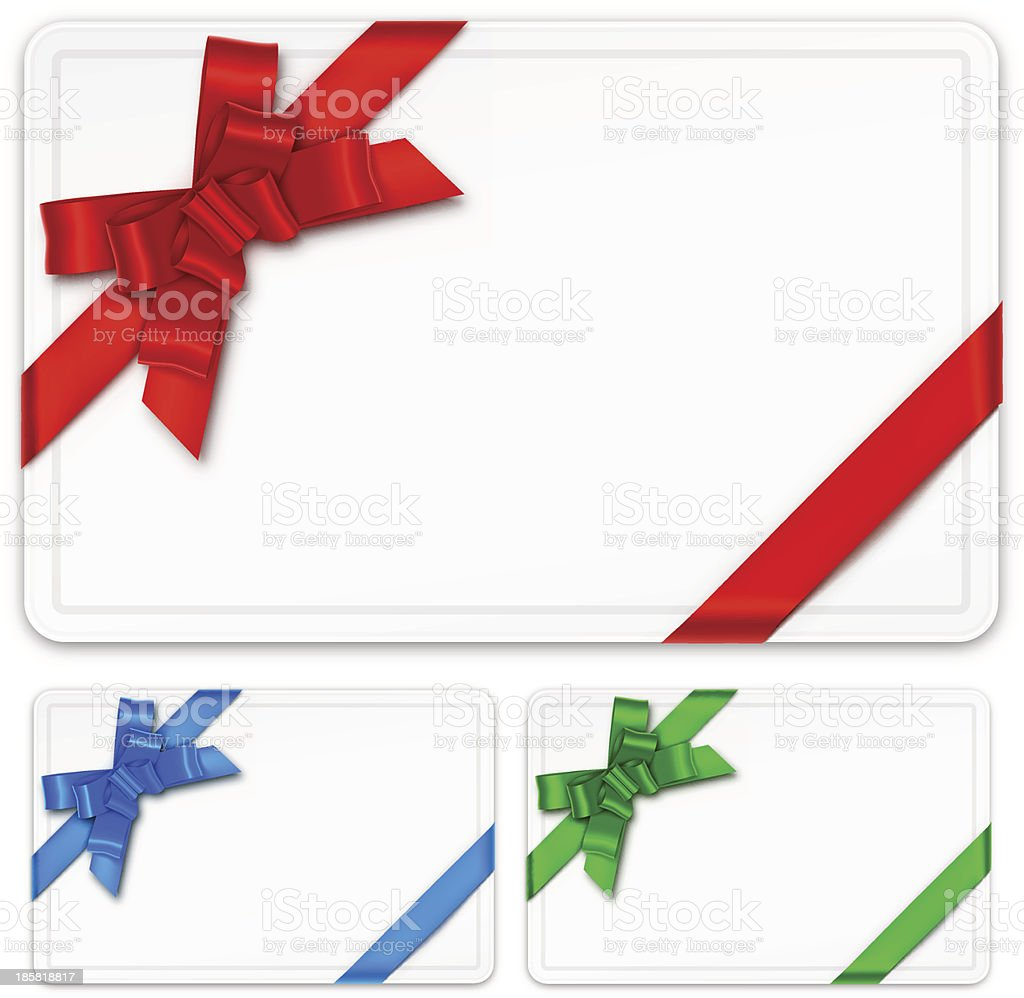 Blank gift card templates with colored bows vector art illustration
