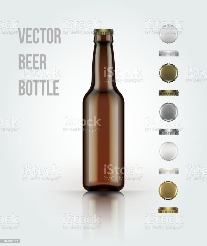Leere Glas Bier und eine Flasche für neue design. Vektor-illustration – Vektorgrafik