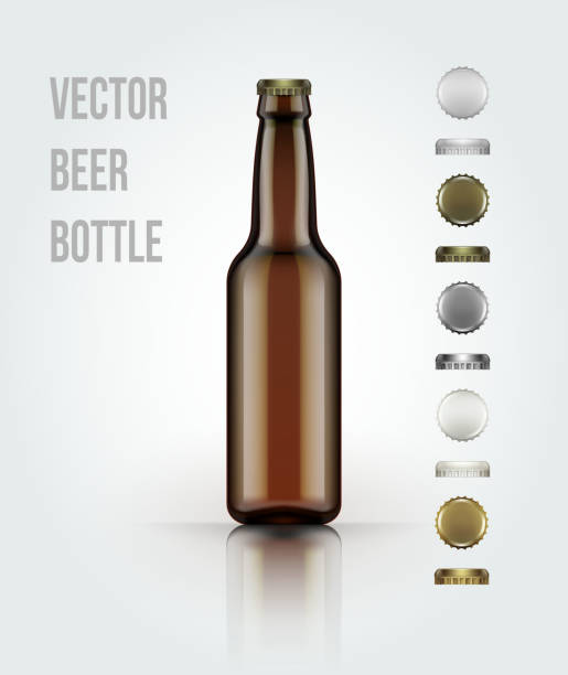stockillustraties, clipart, cartoons en iconen met blank glass beer bottle for new design. vector illustration - bierfles