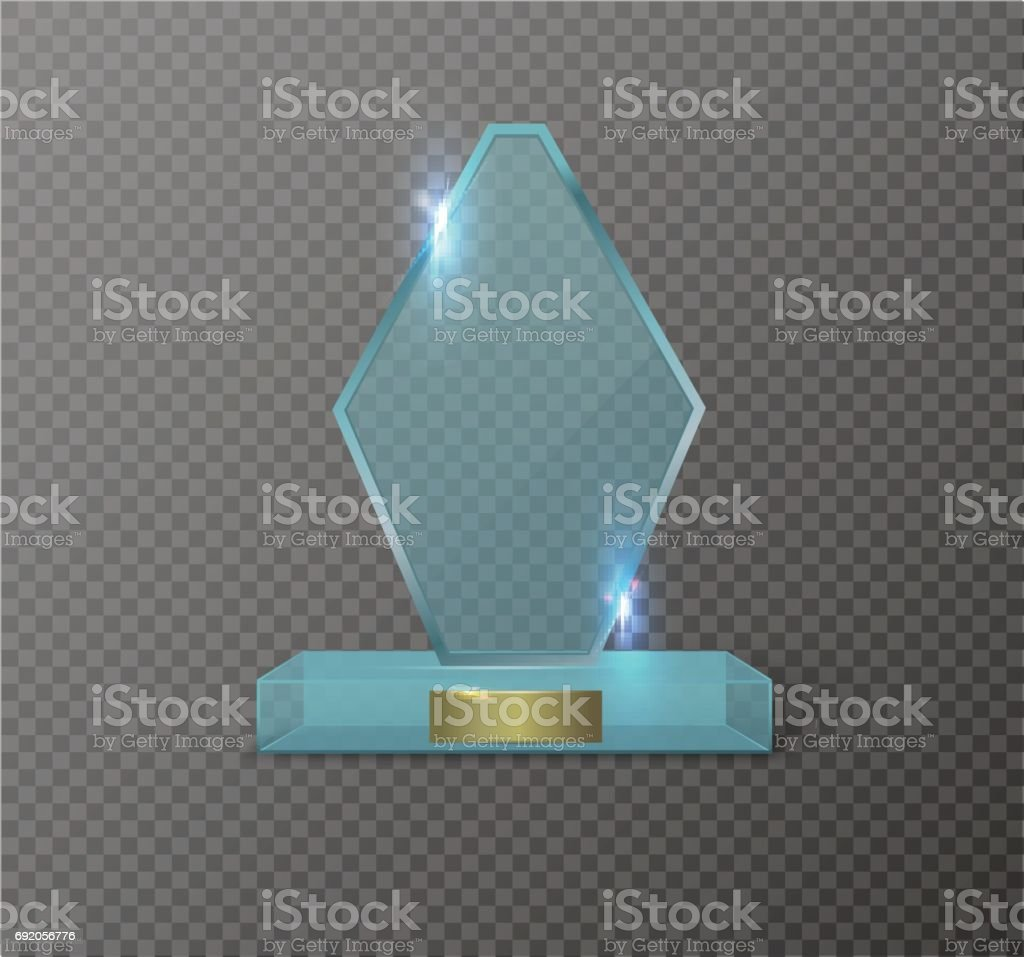 Blank Glass Trophy Award On A Transparent Background Stock