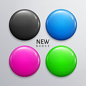 Blank glossy badges, pins or web buttons in four colors, black, blue, magenta and green. Vector.
