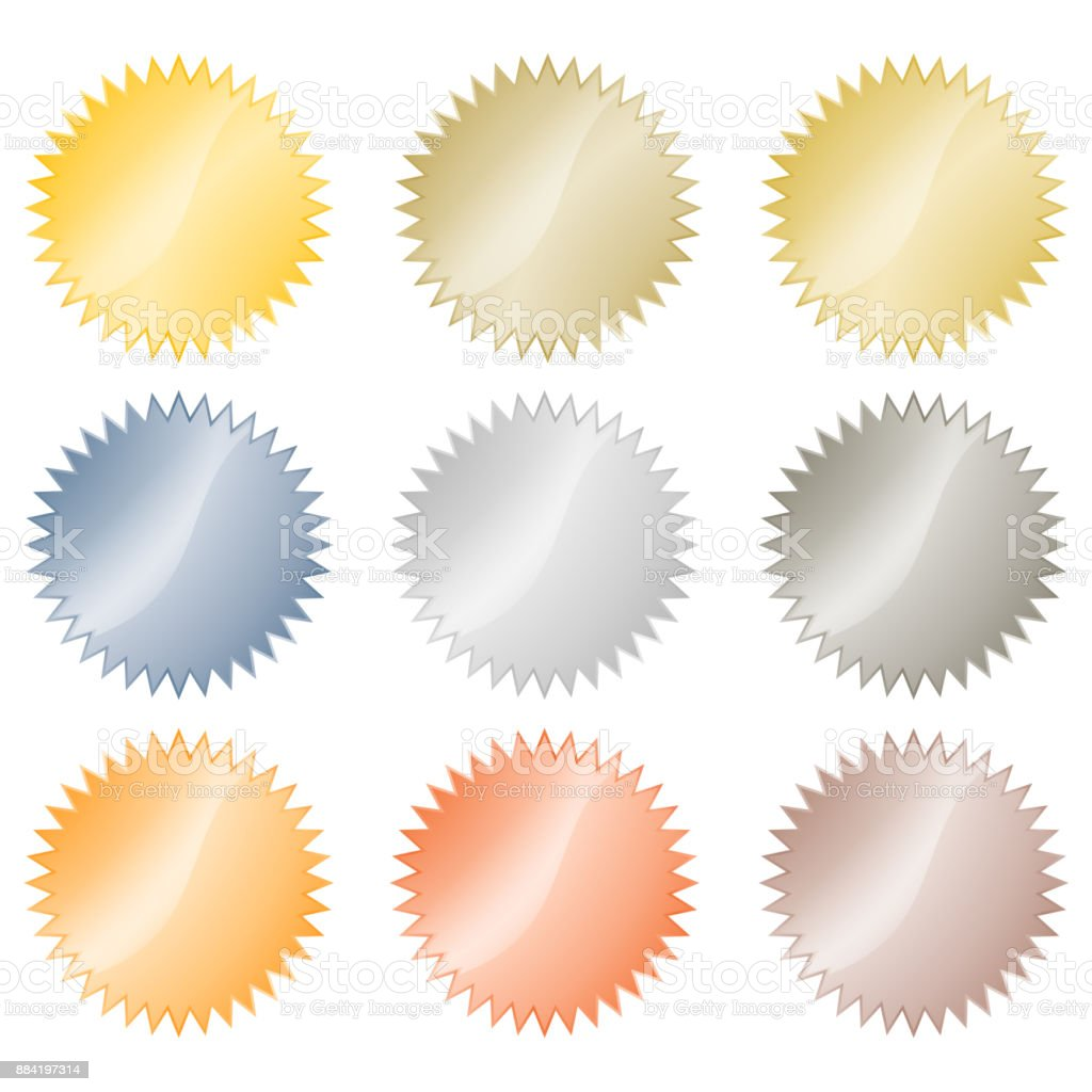 Blank glossy vector stickers in gold, red gold, platinum, silver, bronze, copper, aluminum. Which can be used as a coin, labels, buttons vector art illustration