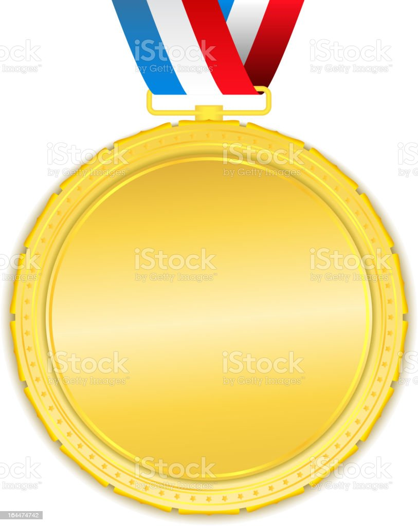A blank gold medal template on a white background vector art illustration