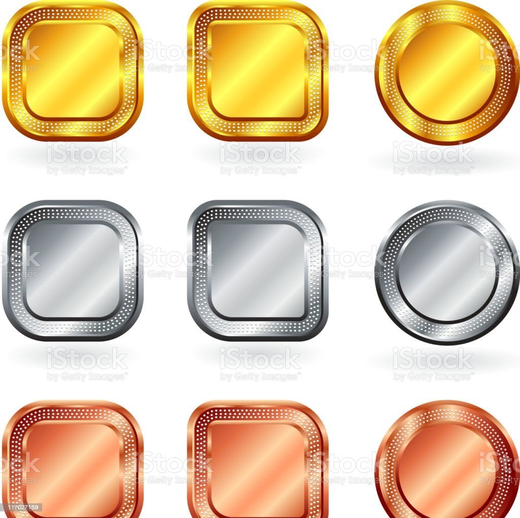 blank gold silver bronze internet buttons royalty-free blank gold silver bronze internet buttons stock vector art & more images of badge