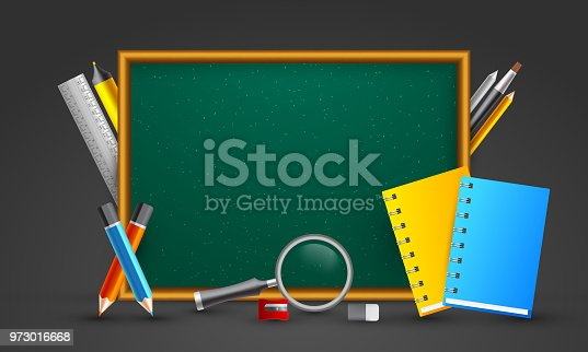 istock Blank green board decorated supplies elements. 973016668