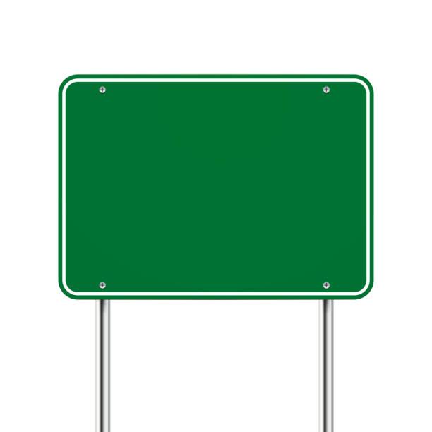 blank green road sign vector art illustration