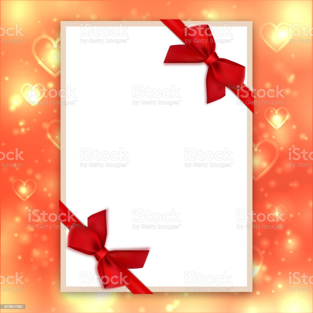Blank Greeting Card Red Bows Ribbons Valentine Background Love