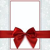 Blank greeting card with red bow and snow.